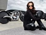 brunette with a motorcycle