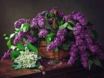 Still life with a basket of lilacs