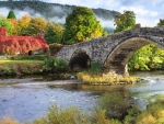 Welsh landscape with bridge over river