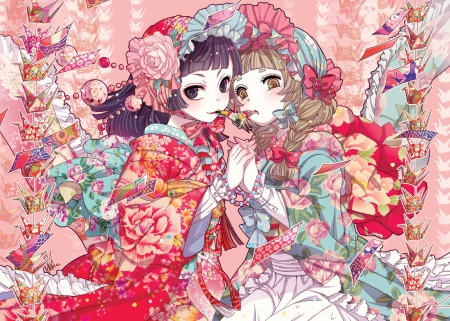 Japanese Girls - friend, japan, japanese, pink, kimono, lolita, girls, orginal, love