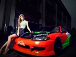 asian girl on sports car