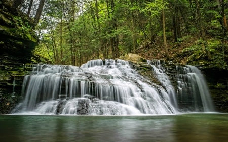 Freedom Falls, Pennsylvania - waterfall, usa, trees, nature