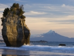 Sea Stack and Mount Taranaki,New Zealand