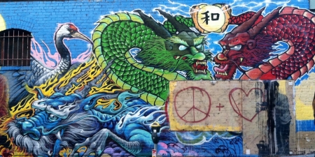 Dragon mural graffiti abstract background wallpapers for Dragon mural wallpaper