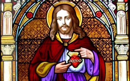 Jesus - heart, Christ, Jesus, stained glass