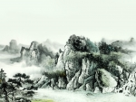 Oriental Mountain Water Painting