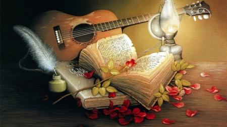 Love - backgrounds, guitar, book, lamp