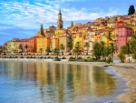 Colorful Old Town Menton on French Riviera