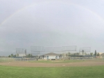 rainbow at baseball field