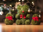 teddy bear by christmas tree