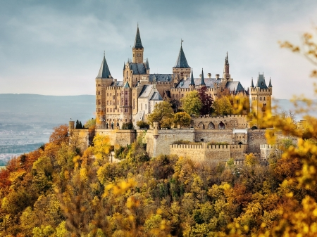 Hohenzollern Castle in Autumn, Germany - autumn, castle, trees, sea, nature, forest