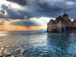The Sunset on Chillon Castle