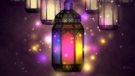 Lights - torch, lamps, colorful, lights, lanterns, bright, Firefox Persona theme, Ramadan