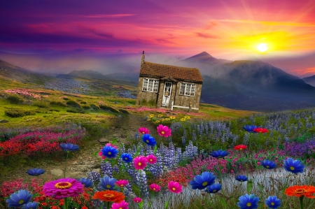 Fantasy landscape - cottage, beautiful, meadow, sky, pretty, art, lovely, landscape, sunset, grass, house, wildflowers, mountain, sun, fantasy