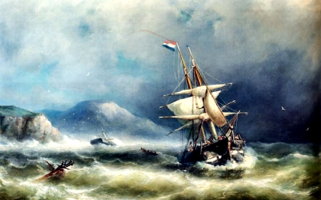 Barque in Distress off a Rocky Coast - painting, scenery, waves, illustration, art, sea, sailing ship, wide screen, artwork, beautiful, high seascape, ocean