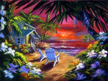 Simple Paradise - cottages, flowers, attractions in dreams, getaway, love four seasons, summer, seaside, paradise, sunsets, paintings, palm trees, sea, beaches, nature
