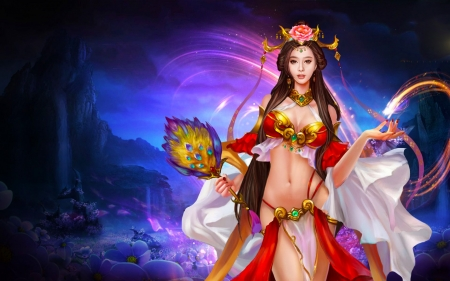 Asian Beauty - digital, fantasy, woman, beauty, crown, girl, art, beautiful, pretty, fan, asian