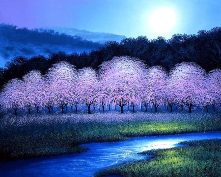 Cherry Blossom Dream - attractions in dreams, love four seasons, spring, streams, parks, forests, cherry blossoms, paintings, moons, moonlight, nature