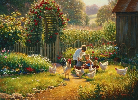 Feeding Time - flowers, rooster, children, garden, poultry, hens, artwork, painting