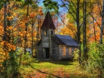 Old Church in Autumn Forest