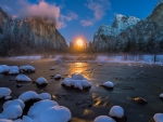 Winter sunset in Yosemite