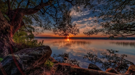 Lake Sunset - lake, clouds, sunset, stone, river, sky, nature, trees