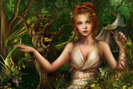 Beauty with a dragon - green, girl, luminos, dargon, cris ortega, fantasy, frumusete, redhead
