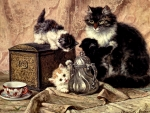 Teatime for Kittens - Cats