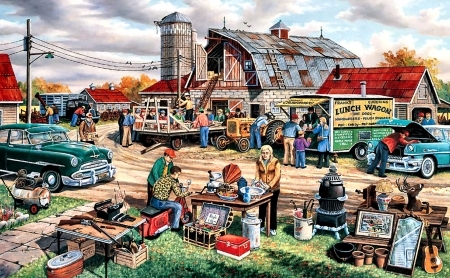 Day of the Country Auction - automobiles, cars, auction, painting, people, illustration, art, wide screen, artwork, country, beautiful