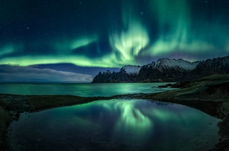 Northern Lights in the Starry Sky - lake, starry, mountain, sky, northern lights, nature
