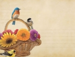 Basket Of Flowers and Birds