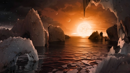 Artistic Impression The Surface of TRAPPIST 1f - space, cool, moon, sun, fun, ocean
