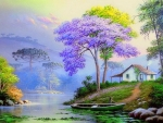 Colorful Trees with Cottage