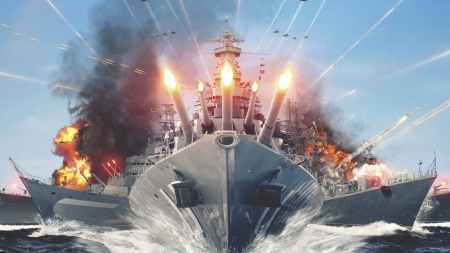 World of Warships - Ships Firing - Ships, Firing, Warships, World