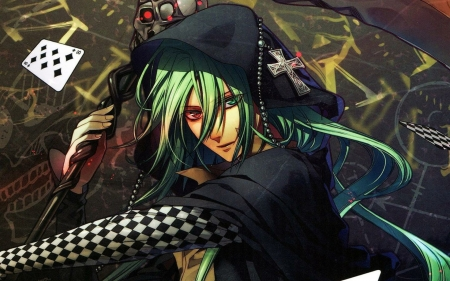 ukyo - staff, girl, card, ukyo, cross