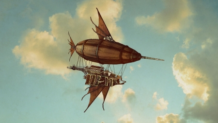 Steampunk - Airship the Goldfish - Goldfish, Airship, Fantasy, Steampunk