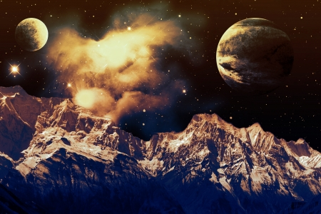 Reach for the Stars - Universe, Stardust, Mountains, Nebula, Planets, Stars, Space, Photoshop