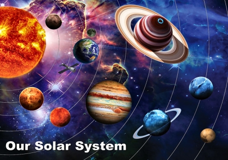 Our Solar System F - illustration, art, words, wide screen, painting, artwork, beautiful, solar system