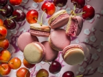 Macarons and cherries