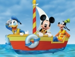 Mickey on the boat