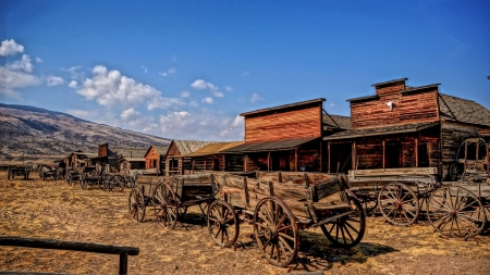ghost town - town, wagons, shop, ghost