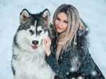 Woman With Her Husky Dog