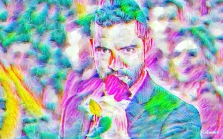 David Bisbal - blue, painting, pink, pictura, singer, abstract, rose, man, spain, David Bisbal, art, colorful, hand, green, by cehenot, yellow