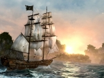 Pirate Ship at Sunset (Art Work)
