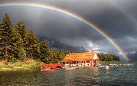 Rainbow Above the Lodge - lake, rainbow, lodge, forest, sky, nature, trees