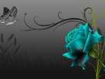 Turquoise Rose with Butterfly