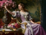 Lady in a lilac dress with flowers