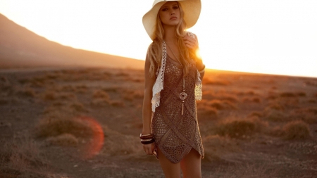 boho sunset - boho, desert, grass, girl