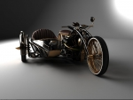 custom chopper and sidecar