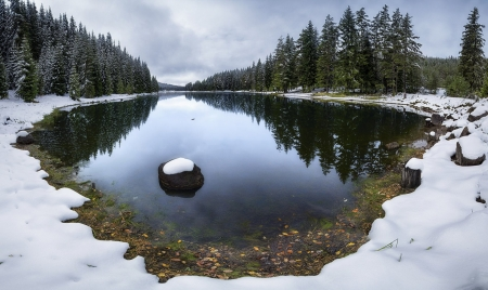 Reflections of a Snowy Lake - Clouds, Trees, Sky, Snow, Reflections, Winter, Nature, Lakes